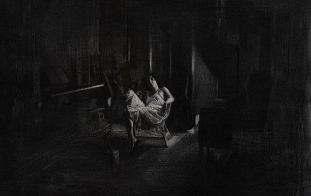 Karen Carreño - Psicosis - Charcoal on paper - 80x60