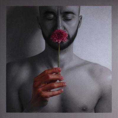 Luca Tedde - Ut altum spiritus - graphite, charcoal, white chalk and colored pencils on paper - 44x44