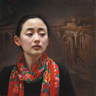 Jing An - On the plateau - Oil on linen - 50x50