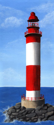 Leuchtturm ca. 20x50 cm Acryl auf Karton