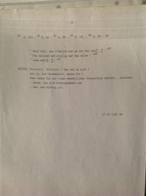 Petra Mettke/Kurgespräch/Hörspiel/Schreibmaschinenskript von 1987/Seite 22