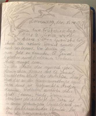 Petra Mettke/Reisetagebuch/Syrien und Jordanien/Handschrift/08.10.1992