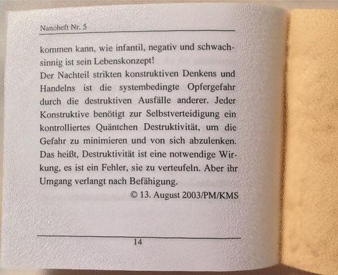 Karin Mettke-Schröder, Petra Mettke/Gedanken zur Destruktivität/Nanobook Nr. 5/2003/Seite 14