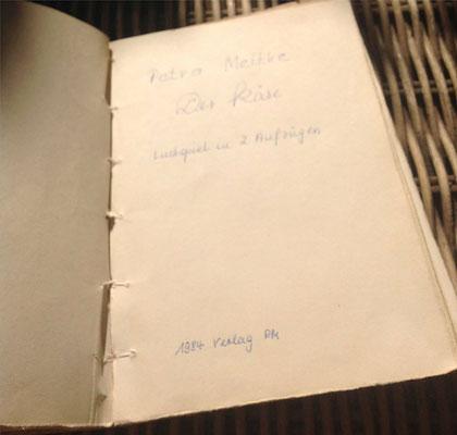 Petra Mettke/Der Käse/Lustspiel von 1984 im Originalbuch/Deckblatt