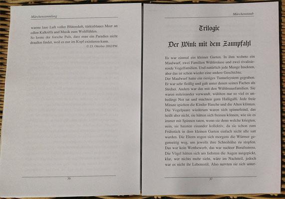 Petra Mettke/Märchenstaub/Märchenbuch 3/Druckheft von 2006/ ungebundene Seite 36-37