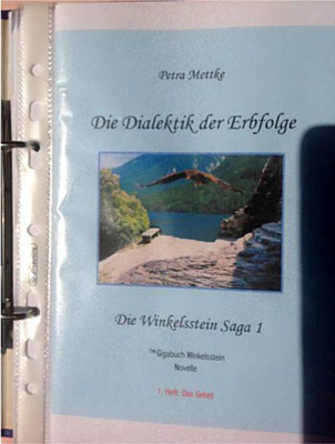 Petra Mettke/Gigabuch Winkelsstein 01/Die Dialektik der Erbfolge/Druckskript 2010/Einbandentwurf