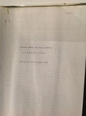 Petra Mettke/Kurgespräch/Hörspiel/Schreibmaschinenskript von 1987/Deckblatt