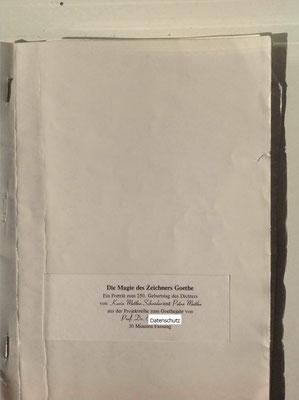 Petra Mettke, Karin Mettke-Schröder/Die Magie des Zeichners Goethe/Drehbuch/1999/Einband