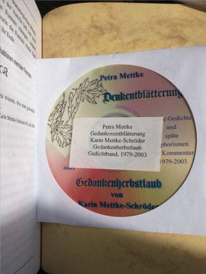 Karin Mettke-Schröder, Petra Mettke/Denkentblätterung/Gedichtband/Druckskript von 2003/Speicherungmedium