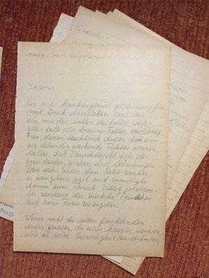 Karin Mettke-Schröder/Handschrift von 1986/ Erste Märchenskizze/Blatt Ikarus