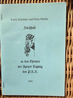 Karin Mettke-Schröder, Petra Mettke/Nachhall-PEN Heft 2/2008/Einband