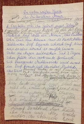 Karin Mettke-Schröder/Handschrift von 1986/ Erste Märchenskizze/Titelblatt