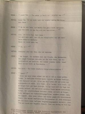 Petra Mettke/Kurgespräch/Hörspiel/Schreibmaschinenskript von 1987/Seite 2