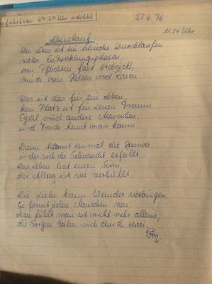 Petra Mettke/Entwurf vom 27.06.1976