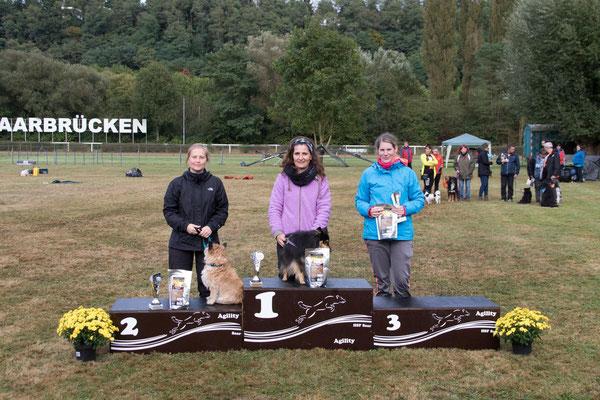 """A3/J3 small: 1. Anke Meissner mit """"Winnie""""  2. Sarah Schumacher mit """"Happy""""  3. Kerstin Staretzek mit """"Rocky"""""""