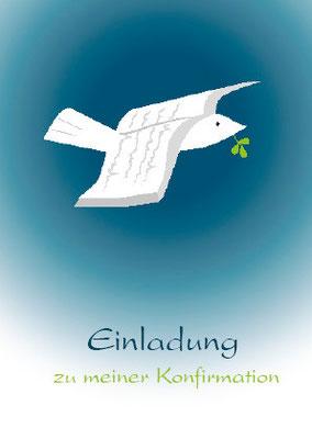 Konfirmationskarte mit Taube und Buch Vorderseit