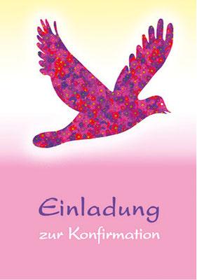 Konfirmationskarte mit Taube vorne