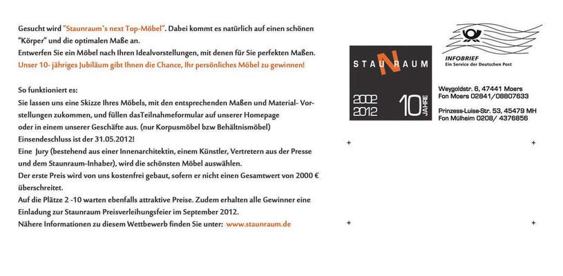 blickpunkte design: Jubiläums-Aktions-Postarte für Staunraum, Rückseite