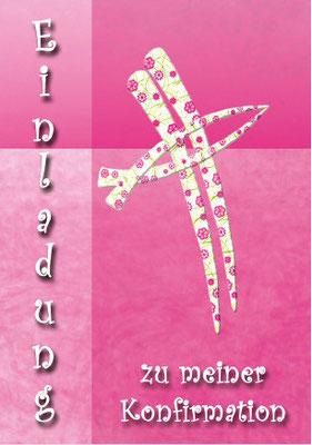 Konfirmationskarte mit Kreuz Vorderseite