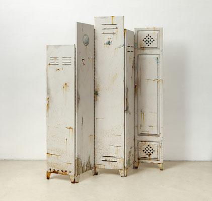 Privatsphäre 2, Öl/Acryl auf Leinwänden, 180 x 180 x 40 cm, klappbar, 2018