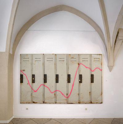 Brigade, Öl/Acryl auf Leinwand, Holz, 280 x 170 cm, 2017
