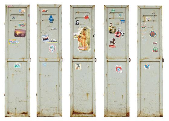 Stereotyp, Öl/Acryl auf Leinwand, Holz, je 165 x 35 cm, 2017-18