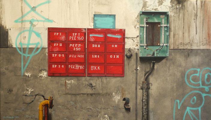 Verteiler 160, Öl auf Leinwand, 95 x 55 cm, 2012