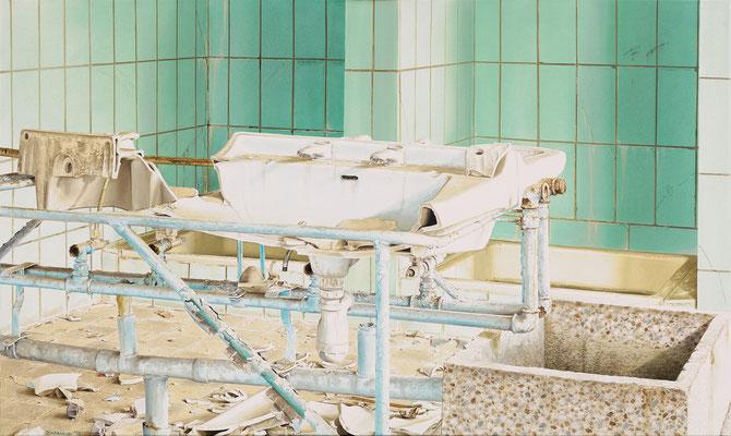 Waschgelegenheit, Öl auf Leinwand, 125 x 75 cm, 2018