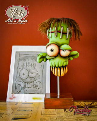 Freaky, handcarved out of styrofoam, handpainted, one of a kind, Drawing by Ben Mitchell (USA)
