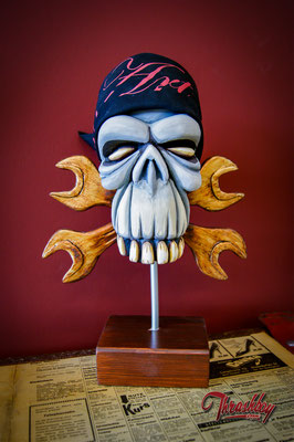 Wrench Skull handcarved out of styrofoam, handpainted, one of a kind