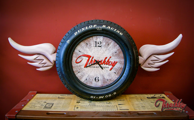 Wall Clock, original 60is racing tire, handcarved wings