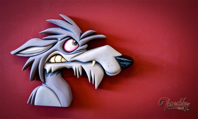 Wandbild Hyäne, handgeschnitzt, Einzelstück