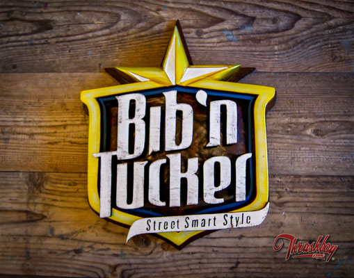 Bib 'n' Tucker, 3D Logo, handcarved, handpainted commission work for Bib'n'Tucker (Netherland)