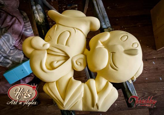Popeye und Olivia, Kundenauftrag, handgeschnitzt, handbemalt, Einzelstück