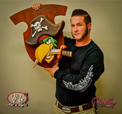 The Road Pirates, Club-Logo, handgeschnitzt, gegossen, Kundenauftrag, the Road Pirates (Belgien)