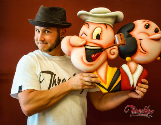 Popeye and Olivia, commission work, handcarved out of styrofoam, handpainted, one of a kind