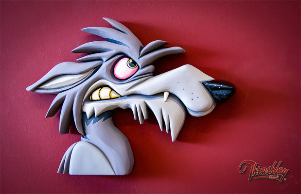 Wall Hanger hyena, handcarved, handpainted, one of a kind