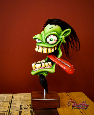 Fast Weirdo handcarved out of Styrofoam, handpainted , one of a kind