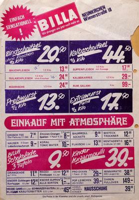 BILLA Flugblatt, Wienerstraße, Neunkirchen, 1975