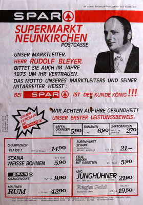Flugblatt SPAR-Markt Postgasse, Neunkirchen, 1973