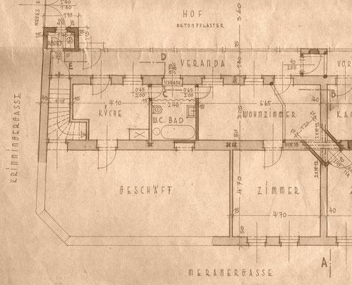 Grundriss Geschäft mit angrenzenden Wohnräumen 1952