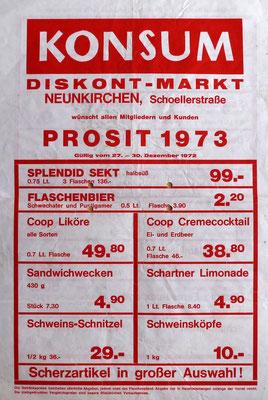 Flugblatt KONSUM Schoellerstraße, Neunkirchen, 1973