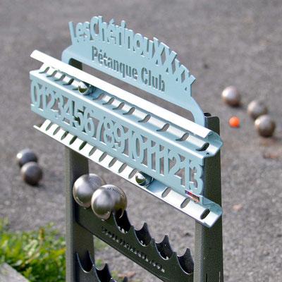 Compteur de score ROLL coloris Lagon équipé d'une plaque personnalisée avec votre propre texte