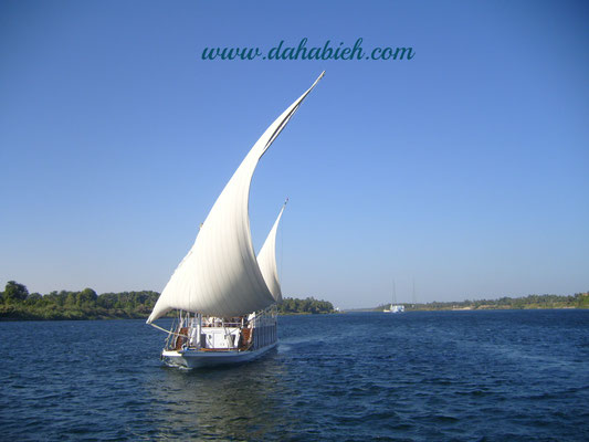 Nile sailing dahabiya in Upper Egypt.