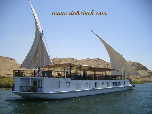 dahabiya Nile sailing in Upper Egypt.