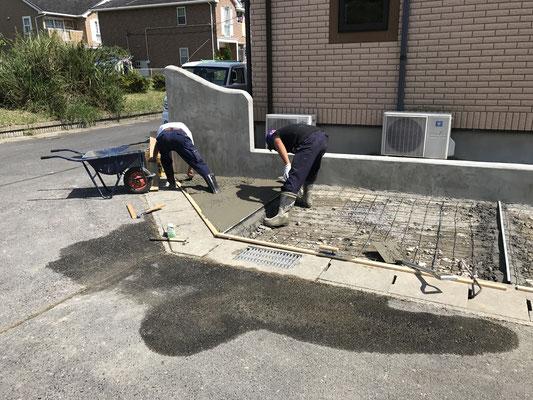外構工事駐車場土間打ち