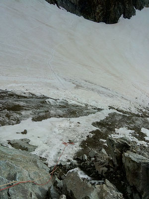 Rappel de 30m pour éviter la glace à la descente