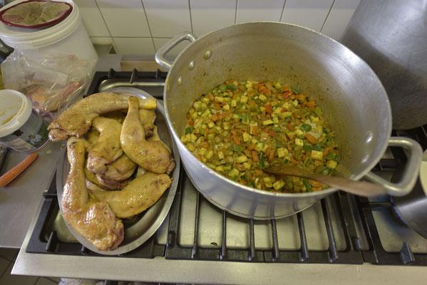 Poulet coco en préparation !!