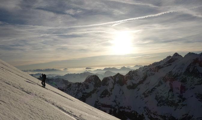 Marion sur le glacier supérieur des Agneaux.