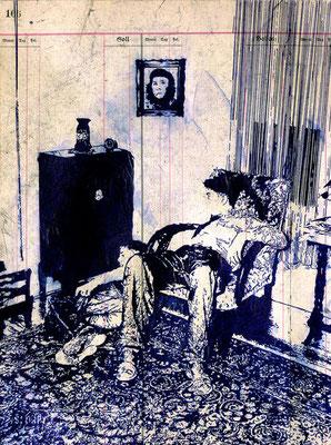 FREITAGS EINFACH MAL BLAU MACHEN, 2020, Kugelschreiber auf Papier, 40 x 30 cm